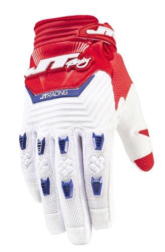 JT Racing USA Throttle MX Mens Motocross Dirt Bike Gloves RedWhiteBlue Large