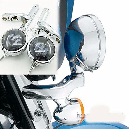 Chrome 45 fog light bracket harley LED Auxiliary Lighting street glide lights electra glide fog light brackets