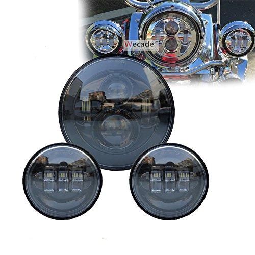 Wecade 7 Inch Motorcycle Daymaker LED Headlight  2pcs 4-12 Fog Lights for Harley Davidson LED Passing Lights Front Lights Driving Lamp Projecotor Black