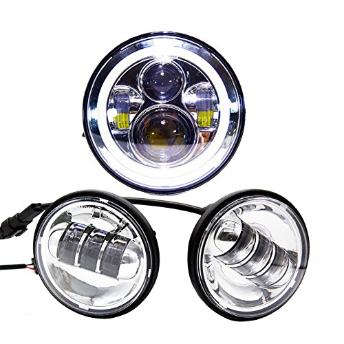 Wisamic 7 LED Projection Daymaker Headlight Angle Eyes with Amber Signal Halo DRL Halo  2pcs 4-12 45 Fog Lights Passing Lamps for Harley Davidson Motorcycle Silver