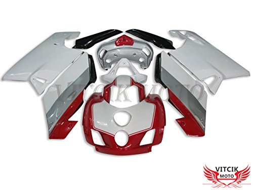 VITCIK Fairing Kits Fit for DUCATI 999 749 Monoposto 2005 2006 05 06 Plastic ABS Injection Mold Complete Motorcycle Body Aftermarket Bodywork Frame White Red A003