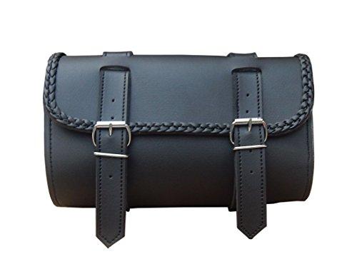 Synthetic Leather Motorcycle Gear Pvc Waterproof Tool Bag Braided black