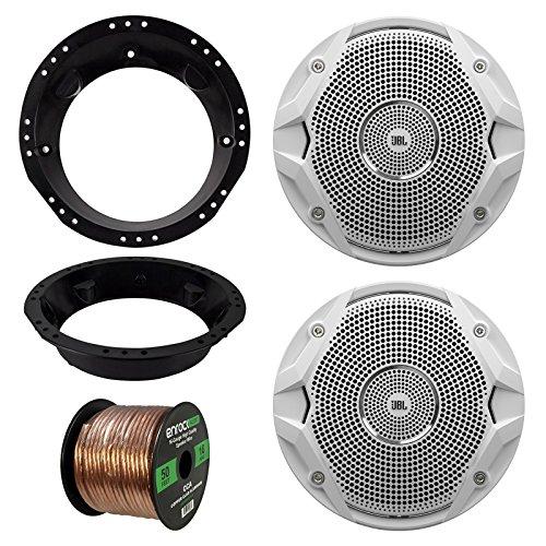 98-13 Harley Speaker Bundle 2x JBL MS6510 65-Inch 150 Watt Silver Car Marine Stereo Coaxial Speakers Combo With Mounting Rings For Motorcycles  Enrock 50 Foot 16 Gauge Speaker Wire