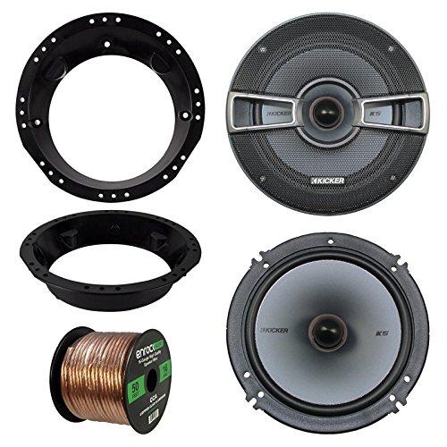 98-13 Harley Speaker Bundle 2x Kicker 41KSS654 65 Inch 500 Watts 2-Way Black Car Stereo Component Speaker Combo With Speaker Mounting Rings For Motorcycles  Enrock 50 Foot 16 Guage Speaker Wire