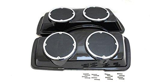 Mutazu Glossy Black ABS Dual 65 Speaker Lids for Harley Touring 1994-2013