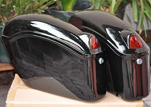 Black Hard Saddle Bags Trunk Luggage W/ Lights Mount Bracket Motorcycle For Honda Yamaha Cruiser