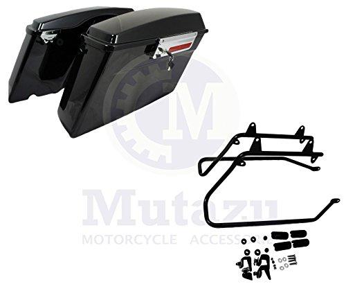 Complete Hard Saddlebags Saddle Bags Set W Softail Conversion Brackets Harley Hd