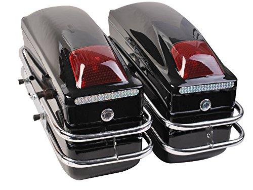 Goplus® Motorcycle Cruiser Hard Trunk Saddle Bags Trunk Luggage W/ Lights Mounted Black