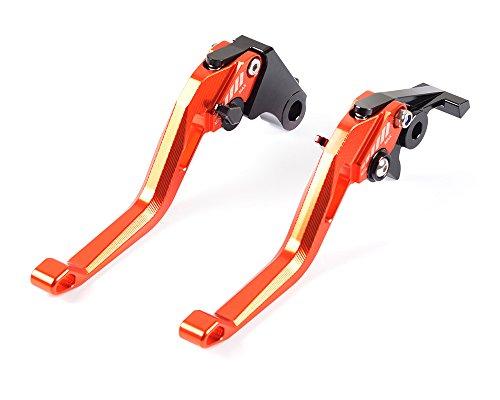 Tencasi Orange New Short Rhombus Hollow Adjustable Brake Clutch Lever for KTM 990 Superduke 2005-2012 690 Duke 2008-2011 RC8R 2009-2016 1290 Super Duke R 2014-2017