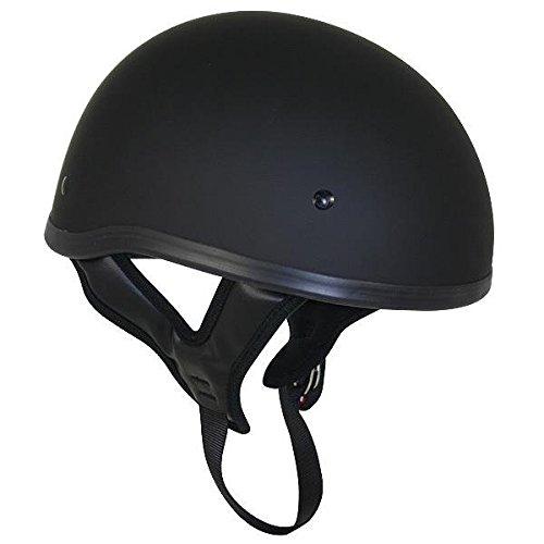 Dot Flat Black Motorcycle Skull Cap Half Helmet - Medium