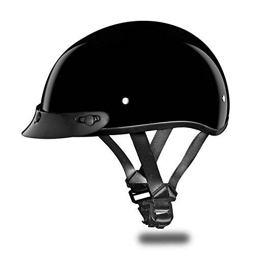 Motorcycle Half Helmet D.o.t. Daytona Skull Cap- Hi-gloss Black By Daytona - M