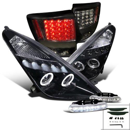 Glossy Black Celica Halo Projector HeadlightsSmoke Tail LampsLed Drl Fog