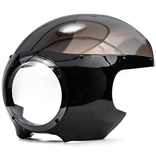 Krator Motorcycle 5-34 Headlight Fairing Screen Black Smoke Retro Cafe Racer Drag