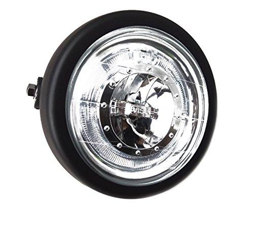 TASWK 6 12 CREE LED Motorcycle Retro Black Clear Lens Headlight Halo Ring for Harley Bobber Cafe Racer Cruiser Vintage Style