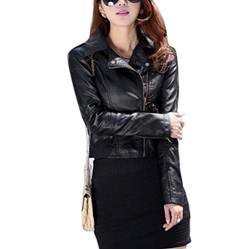 Gaorui Women's Vintage Slim Biker Motorcycle Pu Soft Leather Zipper Jacket Coat