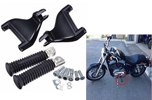 MAGGIE MOTO Passenger Rear Foot Pegs Footpegs Mount Kit For 2004-2013 Harley Sportster Iron XL 883 1200 48 72 Full Set