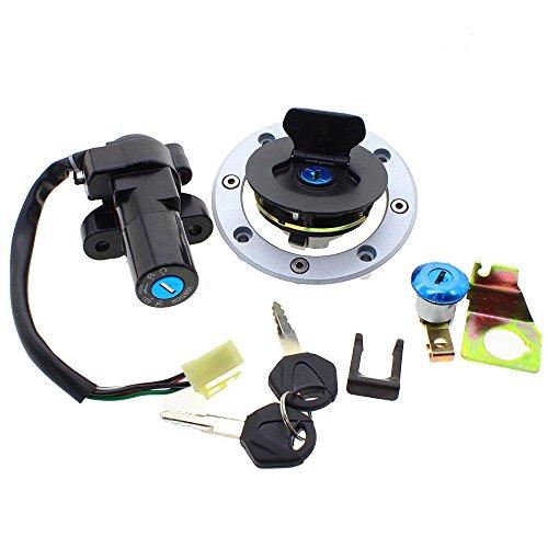FXCNC Motorcycle Fuel Gas Cap 4 Wire Ignition Switch Lock With 2x Keys Set For Suzuki GS500 2001-2010