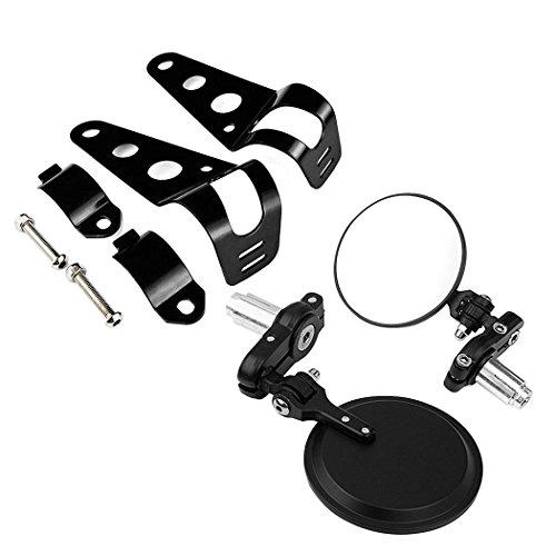 BUNDLE - 2 items Black 3 Round Bar End Side Mirrors 78 Handlebar  Headlamp Mount Bracket For Cruiser Chopper Bobber Café Racer