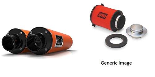 UNI Foam Air Filter HMF Orange Performance-Series Dual Slip On Exhaust Turn-Down-Black for KTM 990 Adventure 2007-2008