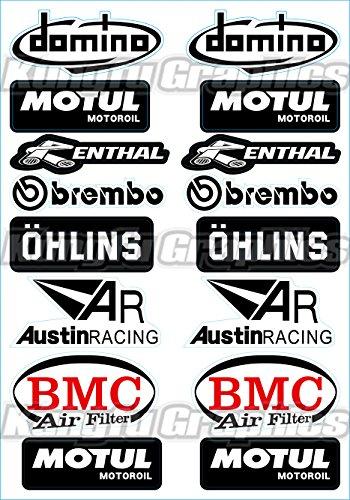 Kungfu Graphics Motul OHLINS Micro Sponsor Logo Racing Sticker Sheet Universal 72x 102 inch White Black