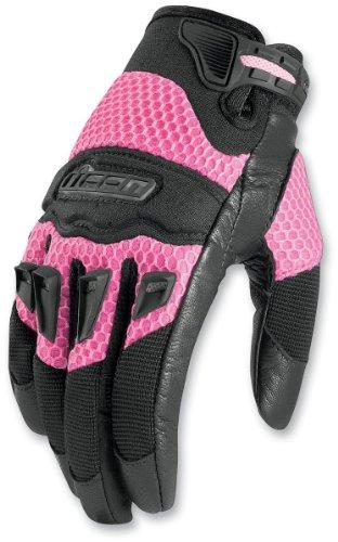 Icon Twenty-niner Women's Leather/mesh Road Race Motorcycle Gloves - Pink / Medium
