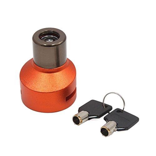 uxcell Orange Aluminum Alloy CNC Motorcycle Security Anti Theft Disk Brake Lock w 2 Keys