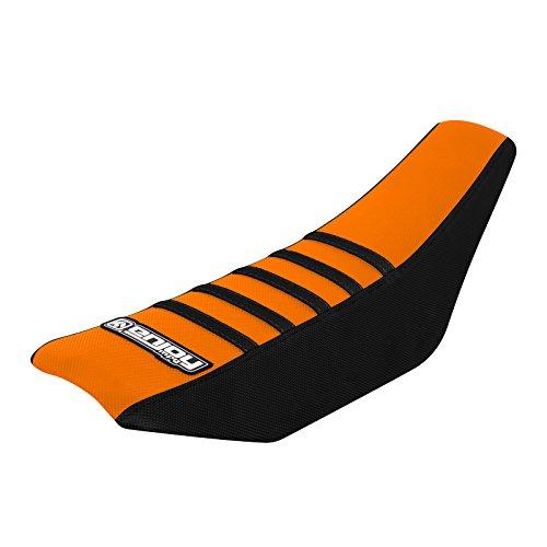 Enjoy MFG Ribbed Seat Cover for 2002-2008 KTM SX 65 - Black Sides  Orange Top  Black Ribs