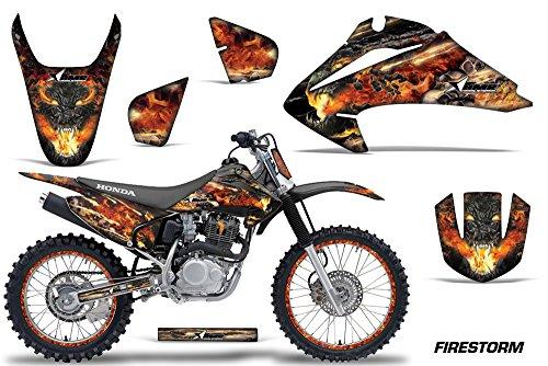 Honda CRF150 CRF230F 2003-2007 MX Dirt Bike Graphic Kit Sticker Decals CRF 125 230 F WITH Number Plates FIRESTORM BLACK