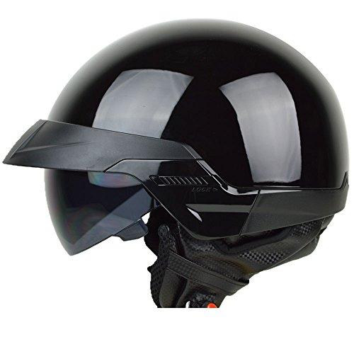 PGR B20 BLACK AVIATOR OLD SCHOOL SKID LIDS HARLEY STYLE DOT APPROVED MOTORCYCLE HALF HELMET CHOPPER CRUISER CUSTOM SHORTY Medium Glossy Black