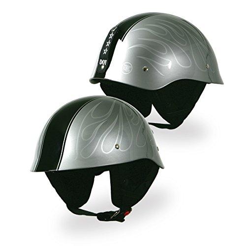 Torc Ghost Flame 12 Adult GI T-54 Harley Motorcycle Helmet - Silver  Large