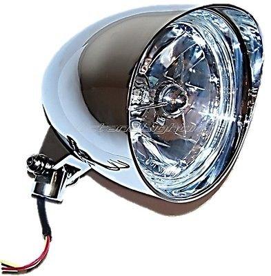 OCTANE LIGHTING 5-34 Chrome Billet Motorcycle Headlight Visor Bucket W Tri-Bar H4 Headlamp