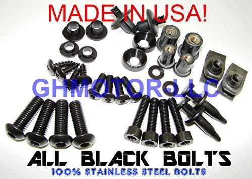 GHMotor Standard Fairing Bolts Fasteners Screws Kit Set MADE IN USA for 2006 07 2008 KAWASAKI 650R All Black