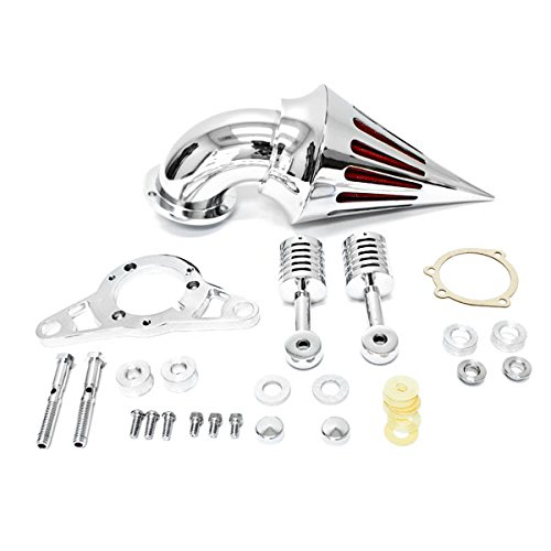 Krator Motorcycle Chrome Spike Air Cleaner Intake Filter For 2008-2009 Harley Davidson Rocker Softail
