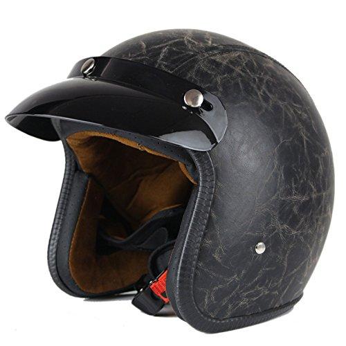 Woljay 34 Open Face helmet Motorcycle Helmet Flat leather Black M