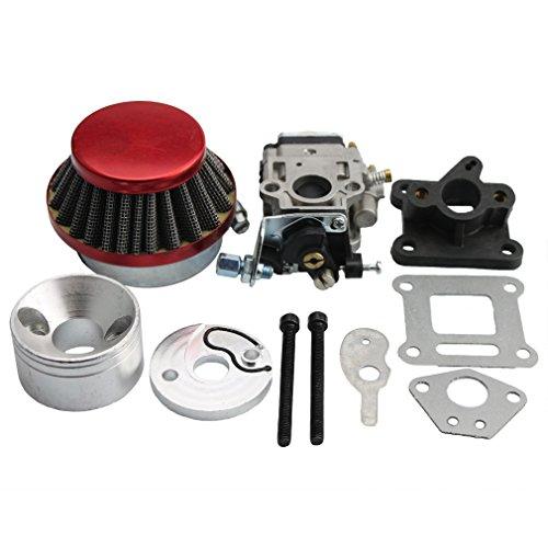 GOOFIT 15mm Carburetor Rebuild Kit with Air Filter for 2 Stroke 47cc 49cc Mini ATV Quad Pocket Bike