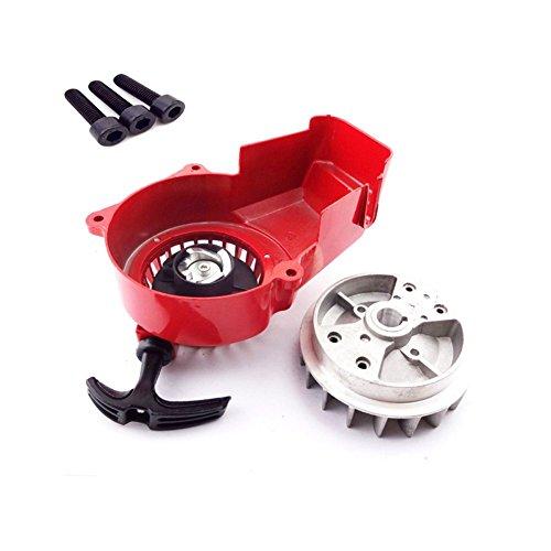TC-Motor Alloy Red Recoil Pull Starter Start  Flywheel  Screws For 2 Stroke 47cc 49cc Engine Parts Pocket Bike Mini ATV Quad Dirt Bike