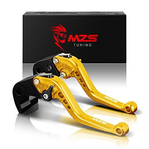 MZS Short Brake Clutch Levers for Kawasaki Z750R 2011-2012Z1000 2007-2016Z1000SXNINJA 1000Tourer 2011-2016ZX6R636 2007-2017ZX10R 2006-2015 Gold