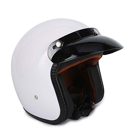 34 Fiberglass Moped Open Face Scooter Bobber Motorcycle Helmet M White