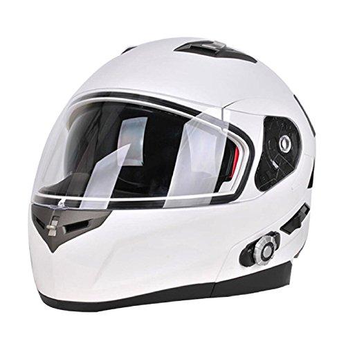 FreedConn Bluetooth Motorcycle Helmets Speakers Integrated Modular Flip up Dual Visors Full Face Built-in Bluetooth Mp3 Intercom headset Communication Range 500M XLWhite