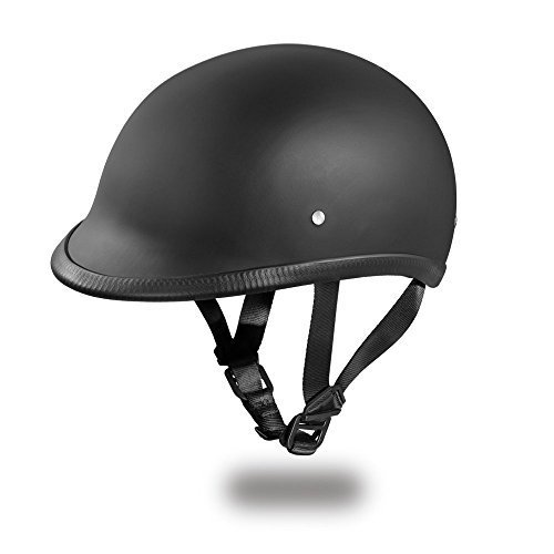 New Slim Line HAWK Polo Style Motorcycle Helmet by Daytona Helmets Offering A Sleek Contoured Shell That Hugs Your Head Half 12 Shell Helmet - DOT Approved DULL BLACK Smallest DOT 12 Shell Helmet Ever Made More Oval Than Round Help
