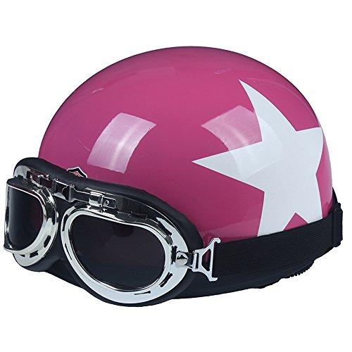 Fatmingo German Style Motorcycle Halft Helmet with Goggles Biker Cruiser Scooter Helmet