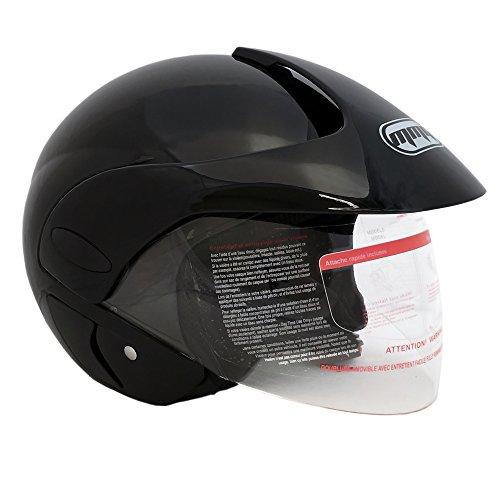 MMG 203 - Motorcycle Scooter Open Face Helmet Flip Up Visor DOT Approved - Glossy Black Large