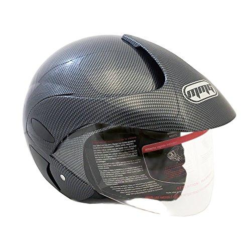 Motorcycle Scooter Open Face Helmet DOT Street Legal - Flip Up Shield - Carbon Fiber 2XL