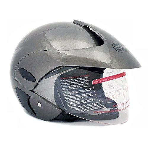Motorcycle Scooter Open Face Helmet DOT Street Legal - Flip Up Shield - Gray - 203 Medium