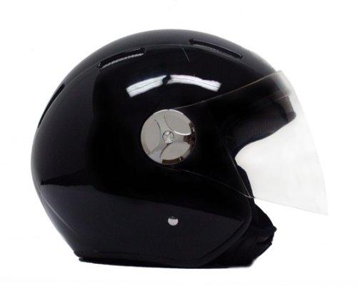 Motorcycle Scooter Open Face Helmet PILOT Flip Up Visor DOT - Shiny Black MEDIUM