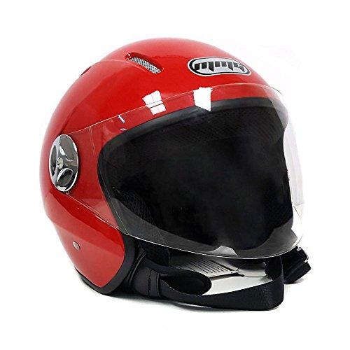 Motorcycle Scooter Open Face Helmet PILOT Flip Up Visor DOT XXL Shiny Red