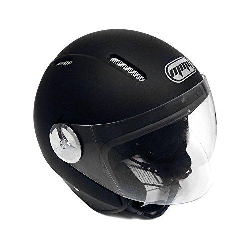 Motorcycle Scooter PILOT Open Face Helmet DOT - Matte Finish Black MEDIUM