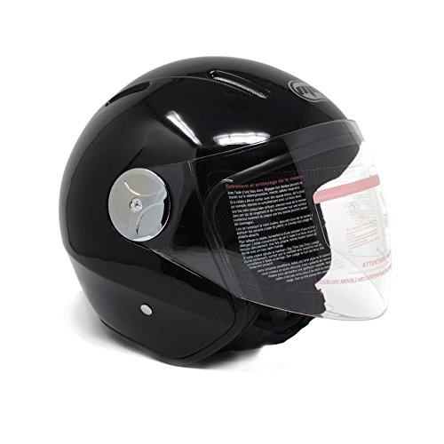 Motorcycle Scooter PILOT Open Face Helmet DOT - Shiny Black XXL