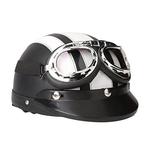 SODIALR 40-60 cm Leather Motorcycle Goggles Vintage Garman Style Half Helmets Motorcycle Biker Cruiser Scooter Touring Helmet White