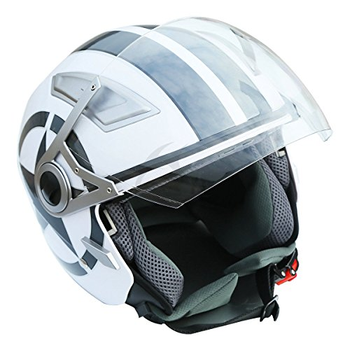XFMT Motorcycles 34 Open Face White Star Dual Visor DOT Motorcycle Scooter Helmet S